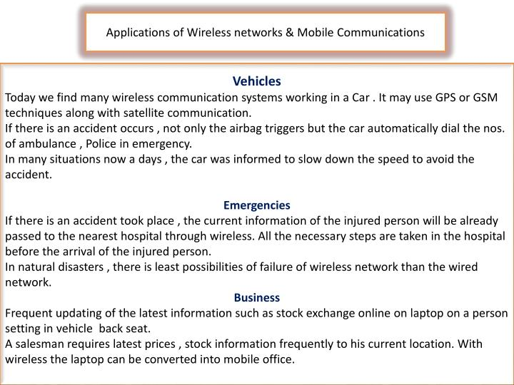 Applications of Wireless networks & Mobile Communications