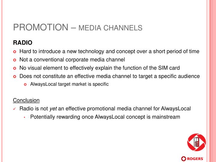 PROMOTION – media channels