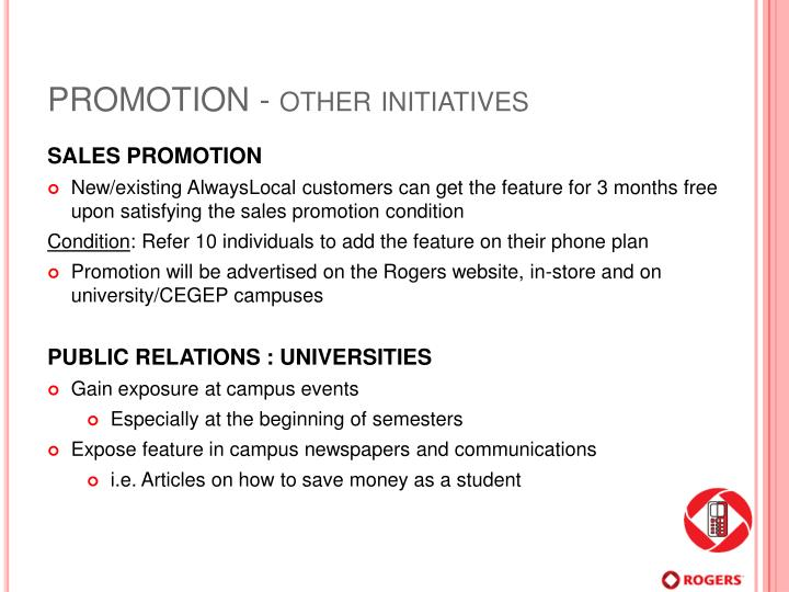 PROMOTION - other initiatives