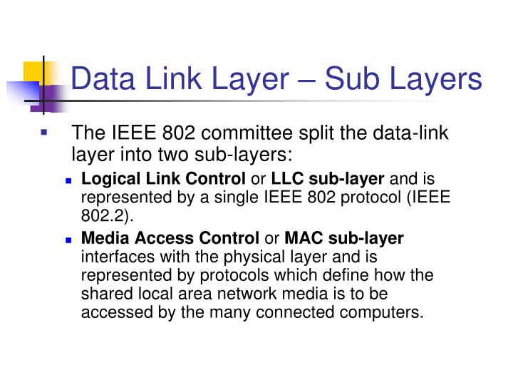 Data Link Layer – Sub Layers