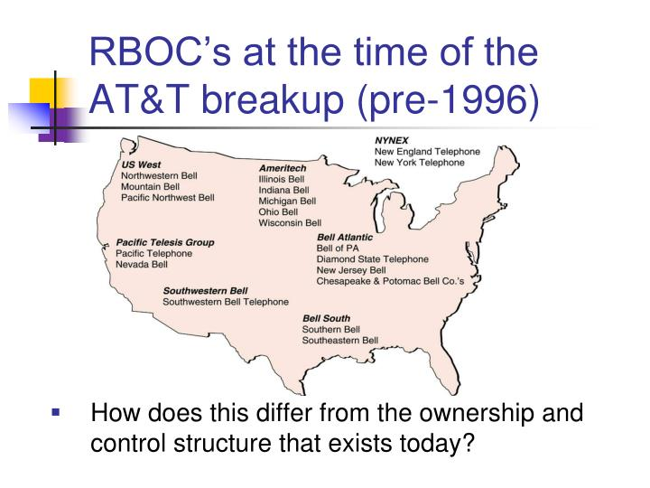 RBOC's at the time of the AT&T breakup (pre-1996)