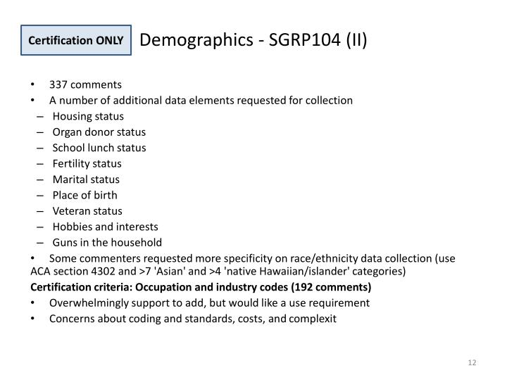 Demographics - SGRP104 (II)