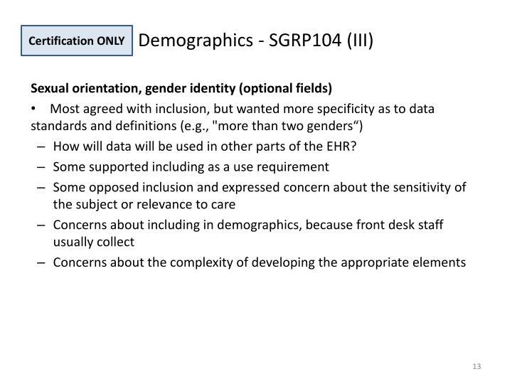 Demographics - SGRP104 (III)