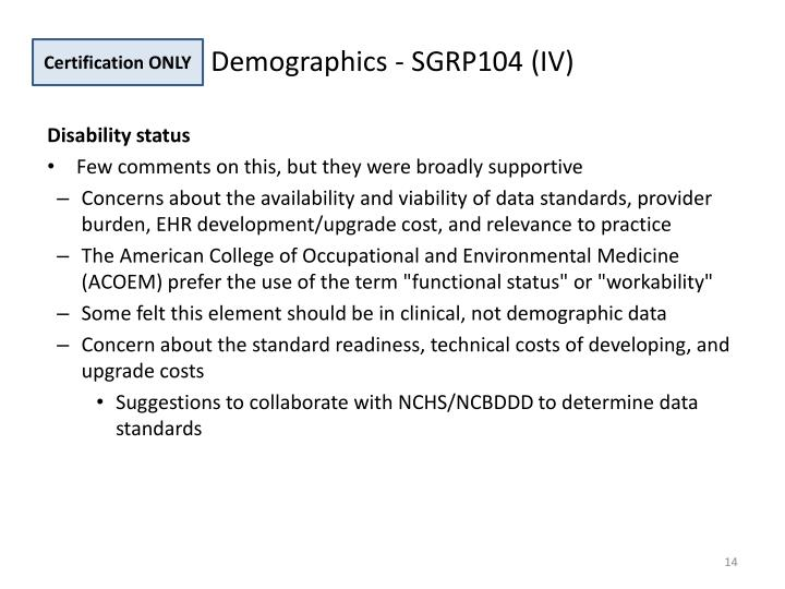 Demographics - SGRP104 (IV)
