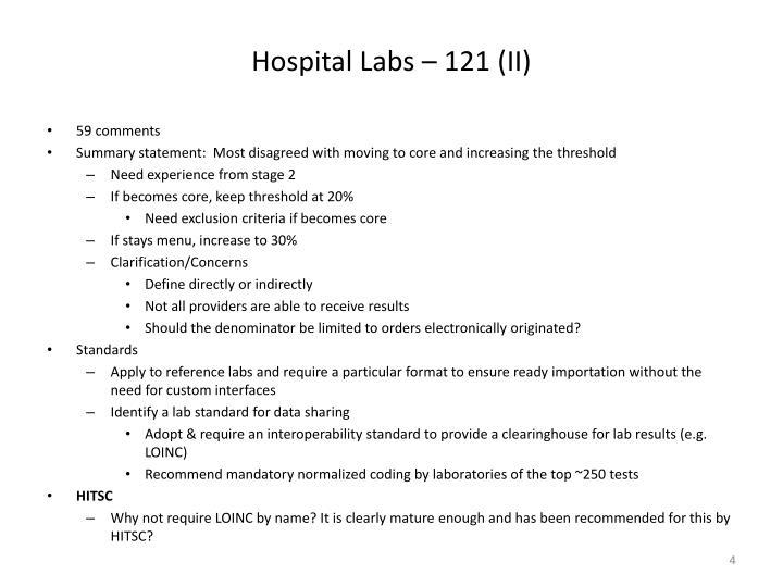 Hospital Labs – 121 (II)