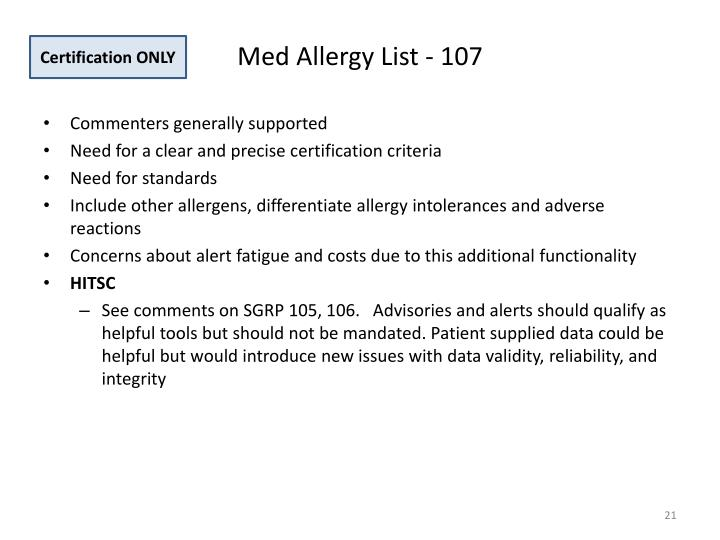 Med Allergy List - 107