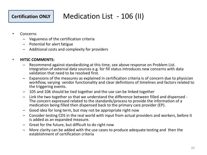 Medication List  - 106 (II)