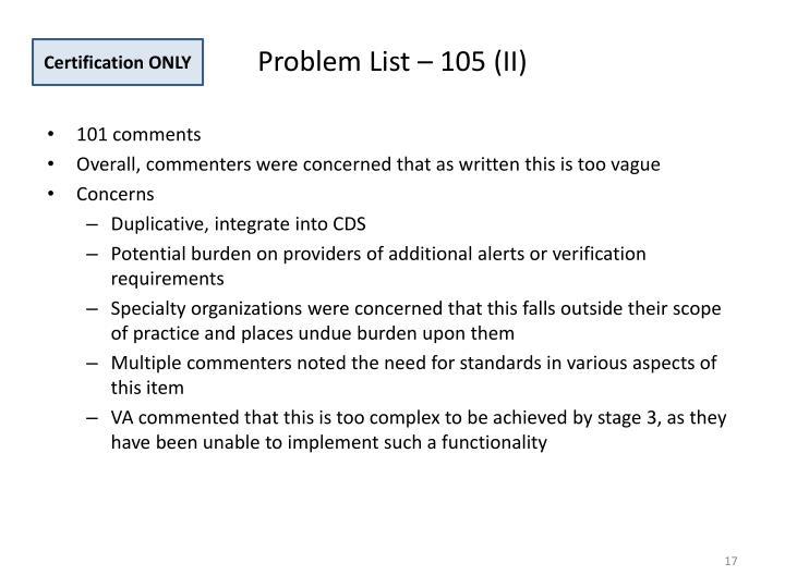 Problem List – 105 (II)