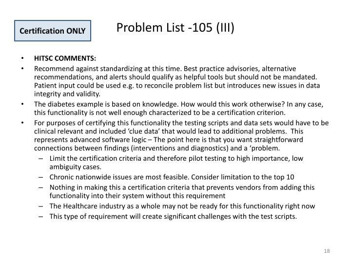 Problem List -105 (III)