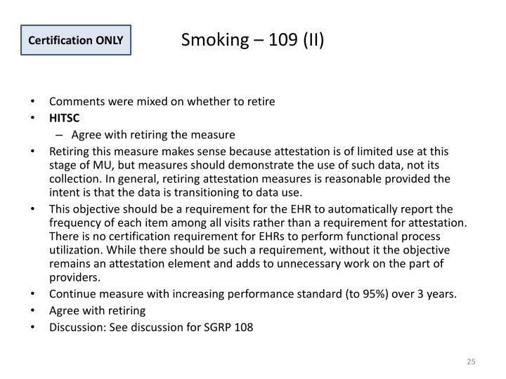 Smoking – 109 (II)