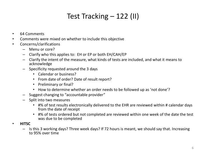 Test Tracking – 122 (II)