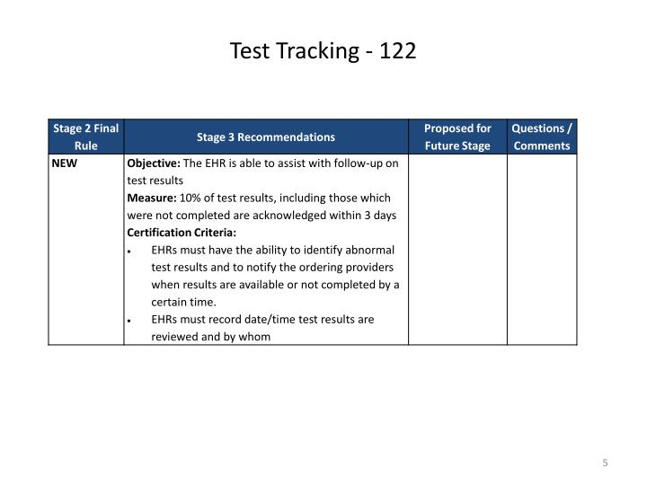 Test Tracking - 122