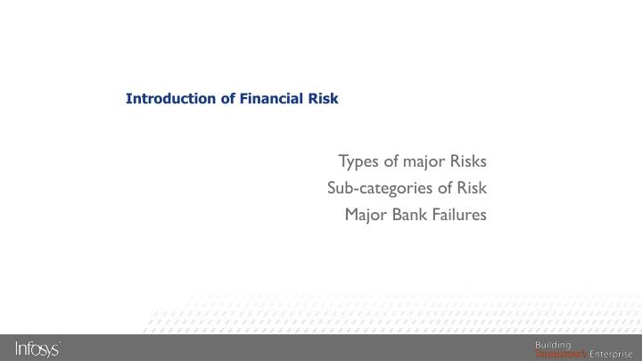 Introduction of Financial Risk
