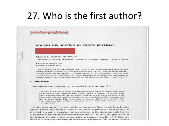 27. Who is the first author?