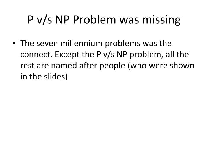 P v/s NP Problem was missing
