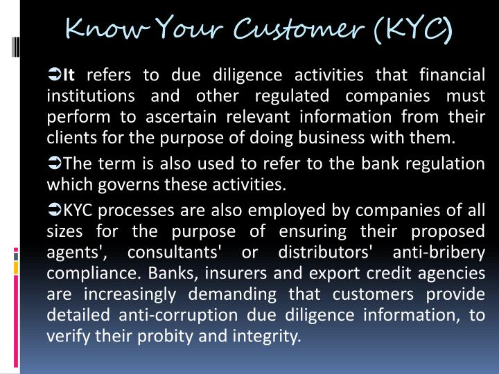 Know Your Customer (KYC