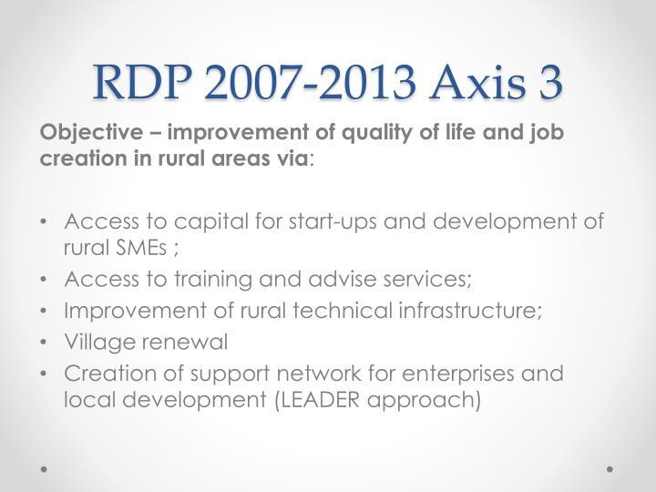 RDP 2007-2013 Axis 3