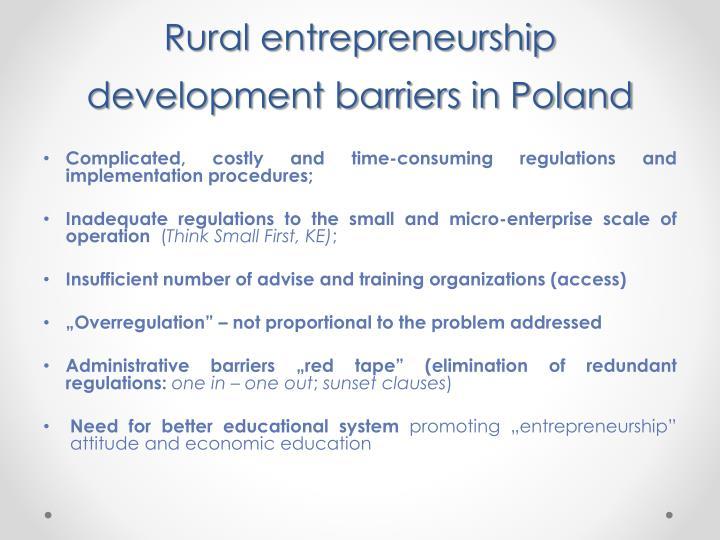 Rural entrepreneurship development barriers in Poland