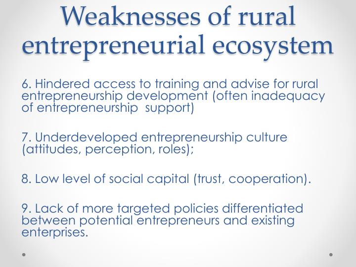Weaknesses of rural entrepreneurial ecosystem