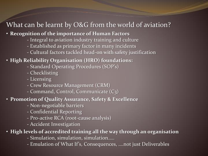 What can be learnt by O&G from the world of