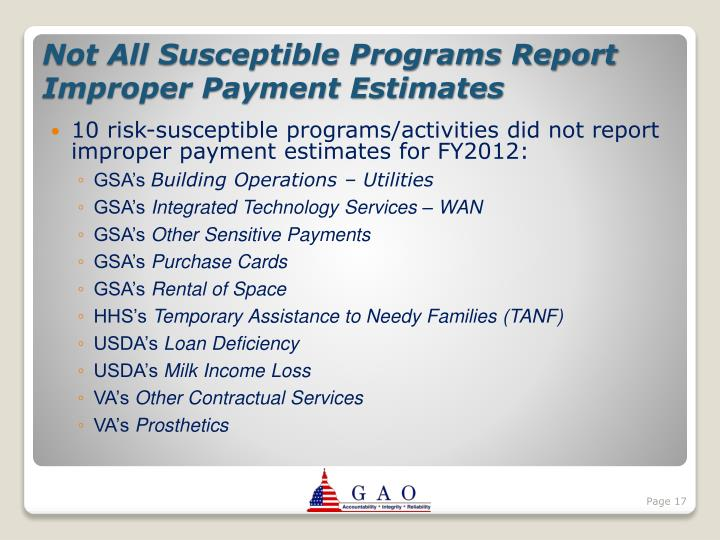 10 risk-susceptible programs/activities did not report improper payment estimates for FY2012: