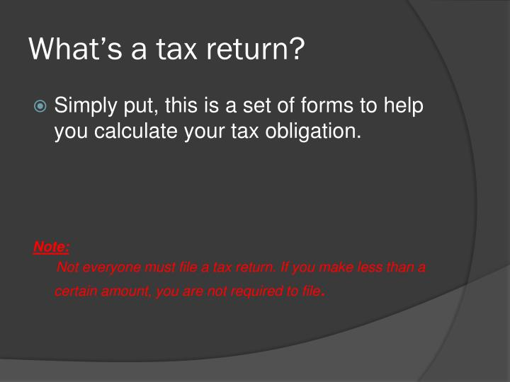 What s a tax return