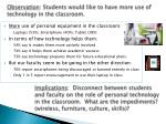 observation students would like to have more use of technology in the classroom