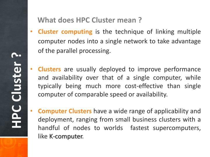 What does HPC Cluster mean ?
