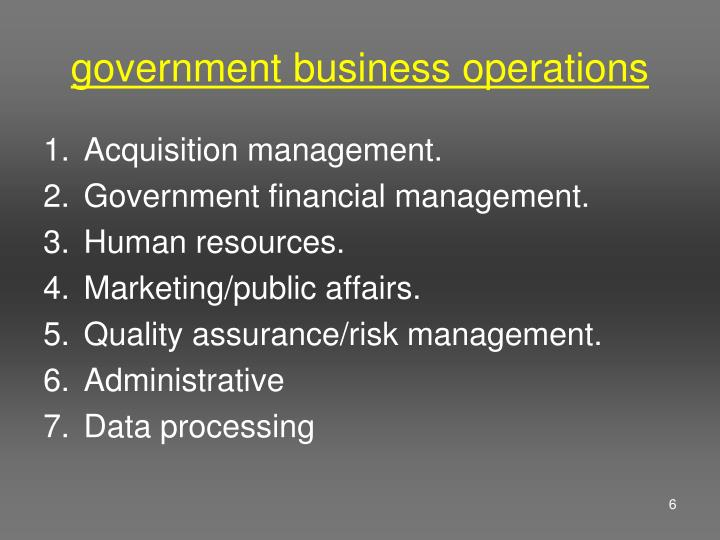 government business operations