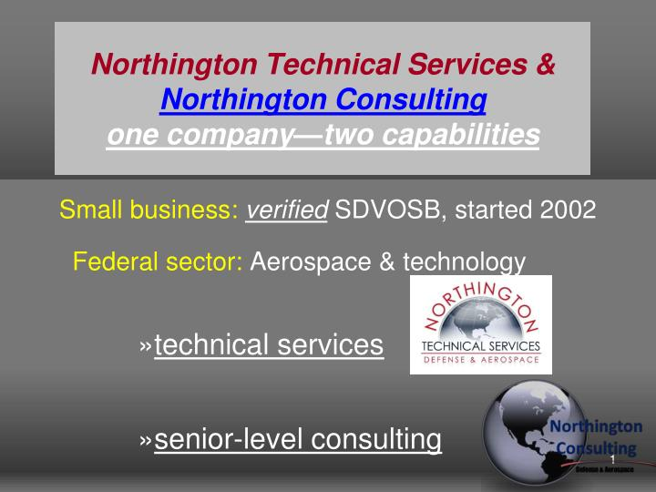 northington technical services northington consulting one company two capabilities