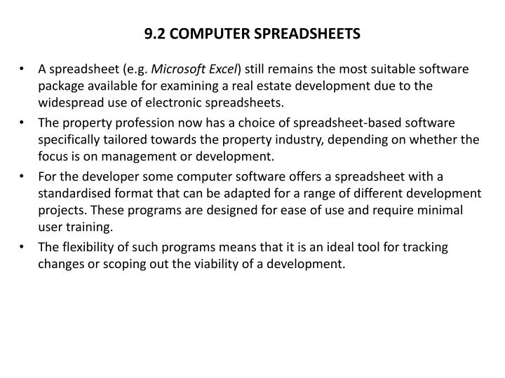 9 2 computer spreadsheets