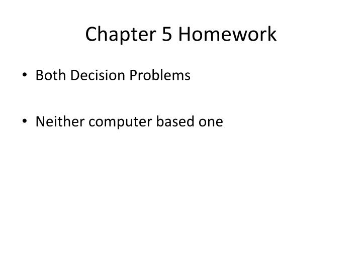Chapter 5 Homework