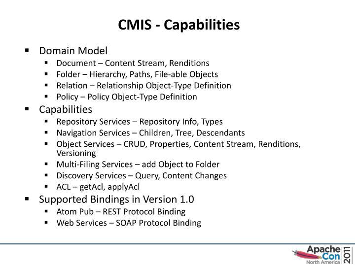 CMIS - Capabilities