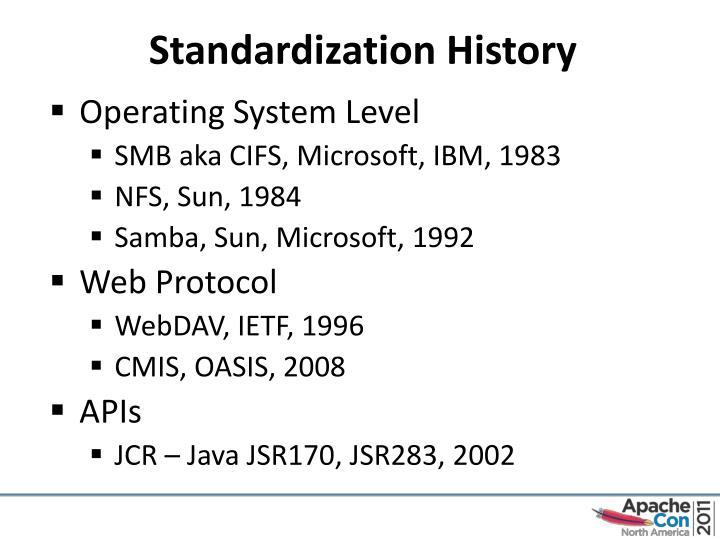 Standardization History