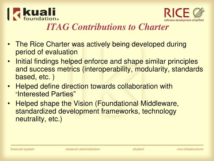 ITAG Contributions to Charter
