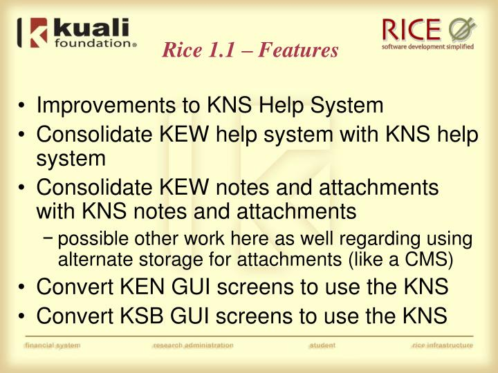 Rice 1.1 – Features