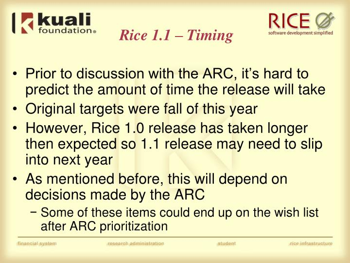 Rice 1.1 – Timing