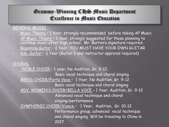 Grammy-Winning CHS Music Department