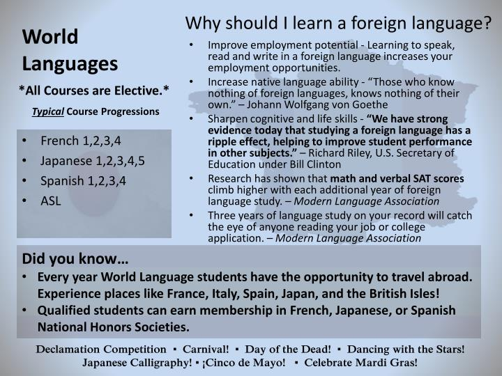 Why should I learn a foreign language?