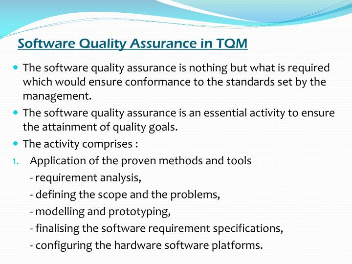 Software Quality Assurance in TQM