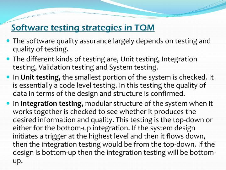 Software testing strategies in TQM