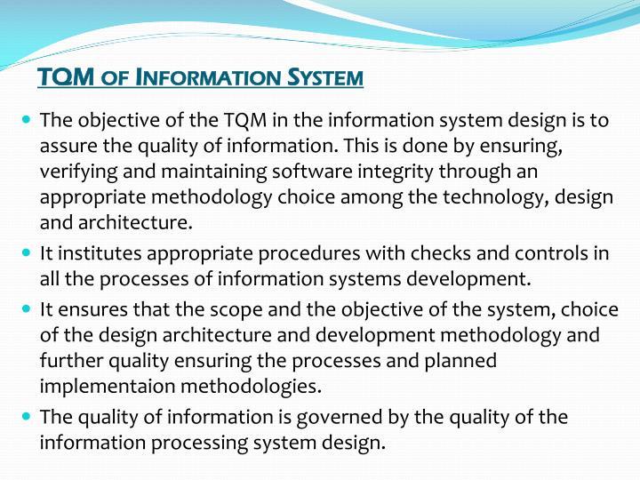 TQM of Information System
