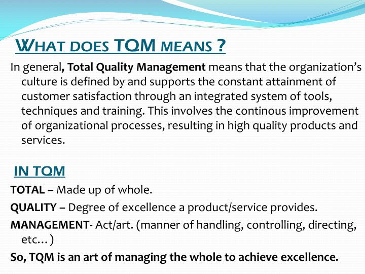 What does TQM means ?