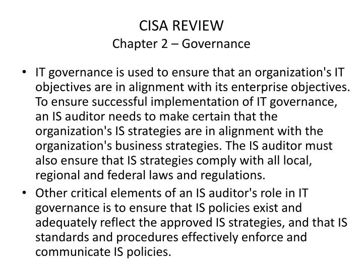 Cisa review chapter 2 governance