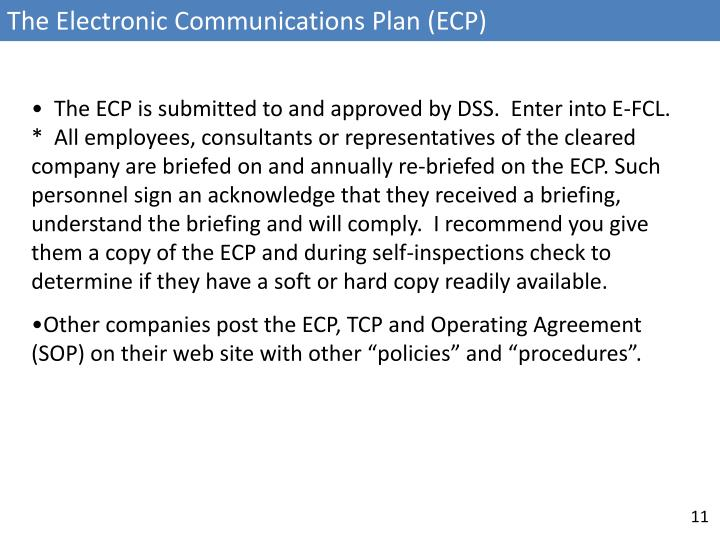The Electronic Communications Plan (ECP)