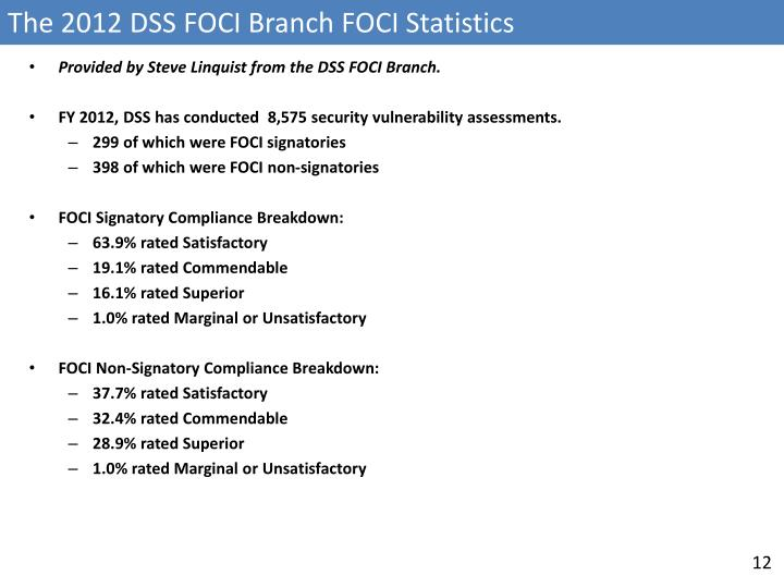 The 2012 DSS FOCI Branch FOCI Statistics