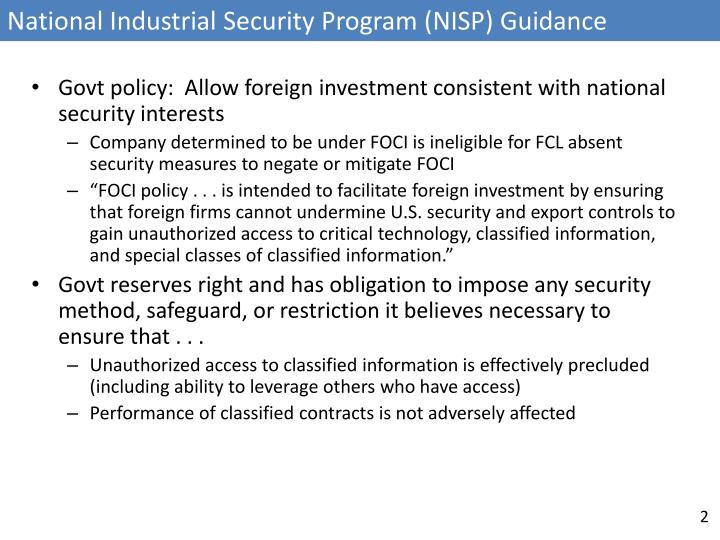 National Industrial Security Program (NISP) Guidance