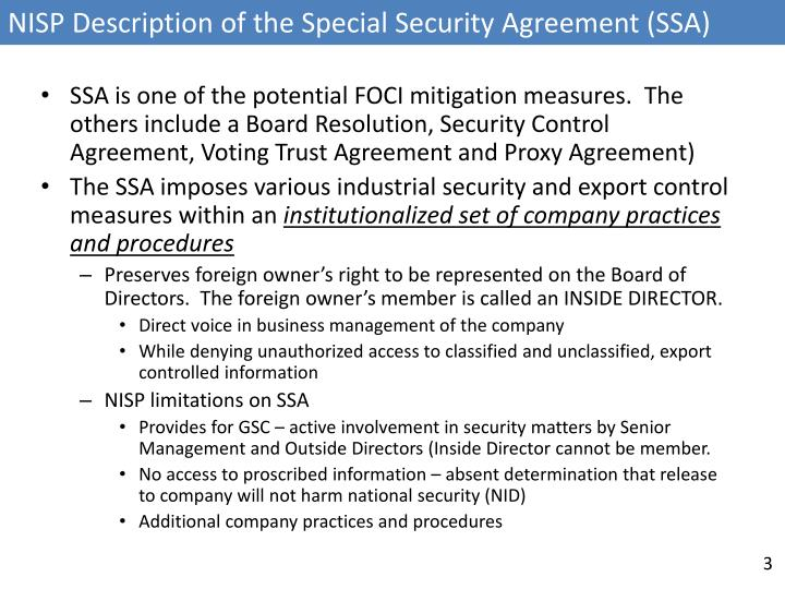 NISP Description of the Special Security Agreement (SSA)