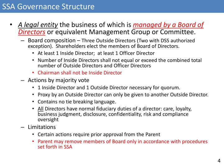 SSA Governance Structure