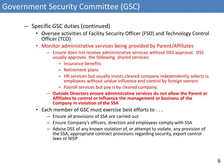 Government Security Committee (GSC)